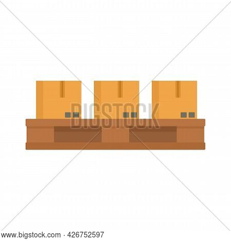 Parcels On Pallet Icon. Flat Illustration Of Parcels On Pallet Vector Icon Isolated On White Backgro