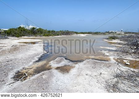 The Dry Landscape And Brown Color Lagoon On A Hot Summer Day On Grand Turk Island (turks And Caicos