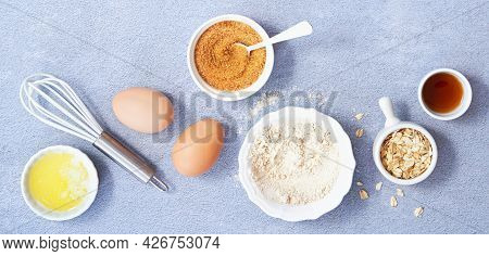 Food Banner. Ingredients For Homemade Oat Pancake With Whole Grain Oat, Coconut Sugar, Vanilla Syrup