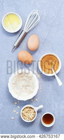 Food Background Banner, Ingredients For Homemade Oat Pancakes With Whole Grain Oat, Coconut Sugar, V