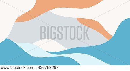 Set Of Abstract Shapes Lines Of Blue Cyan Grey And Orange Colors Hand Drawn Digital Illustration