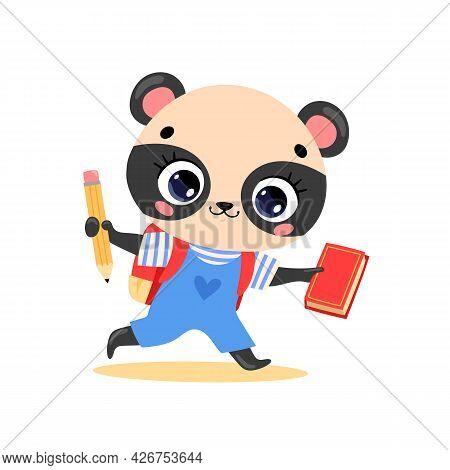 Vector Flat Doodle Illustration Of Cute Cartoon Panda Bear Goes To School. Animals Back To School