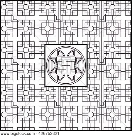 Geometric Chinese Background With Traditional Decorative Elements.