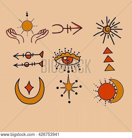 Witchcraft, Magic Background For Witches And Wizards. Wicca And Pagan Tradition. Vector Witch Magic