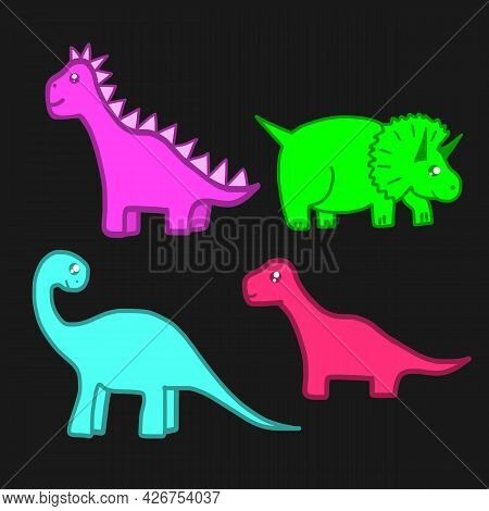 Dinosaurs. Clipart Set Of Cute Colored Dinosaurs. T-rex, Diplodocus, Triceratops Pterodactel