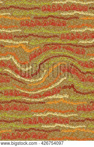African Print Fabric, Ethnic Handmade Ornament, Seamless Tribal Pattern Motifs Geometric Elements. V