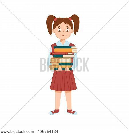 Little Smiling Girl Holding A Stack Of Books. Isolated White Background, Childhood. Schoolgirl. The