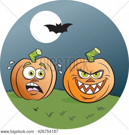 Cartoon Illustration Of Two Jack O Lanterns Under A Full Moon With A Flying Bat.