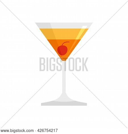 Beach Cocktail Icon. Flat Illustration Of Beach Cocktail Vector Icon Isolated On White Background