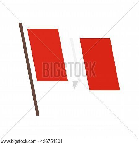 Peru Flag Icon. Flat Illustration Of Peru Flag Vector Icon Isolated On White Background