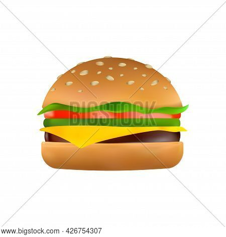 Cheeseburger With A Slice Of Cheese, Pickles, Tomato, Beef Patty, Lettuce And Toasted Sesame Bun. Cl