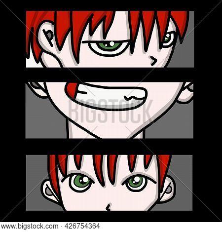 Manga Style. Japanese Cartoon Comic Concept. Anime Characters. Ink Drawing Eyes Manga Illustration A
