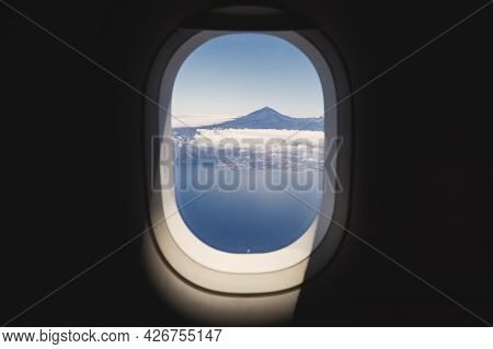 Aerial View From Airplane Window. Volcano Teide On Tenerife At Sunny Day. Canary Islands; Spain.