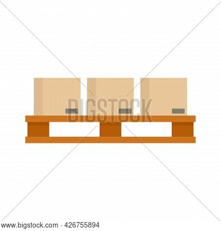 Full Pallet Box Icon. Flat Illustration Of Full Pallet Box Vector Icon Isolated On White Background