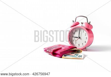 Alarm Clock And Wallet With Euro Money On A White Background. Time Is Money Concept. Copy Space. Clo