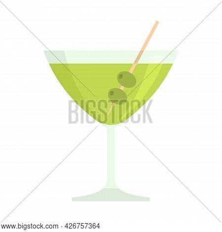 Olive Cocktail Icon. Flat Illustration Of Olive Cocktail Vector Icon Isolated On White Background