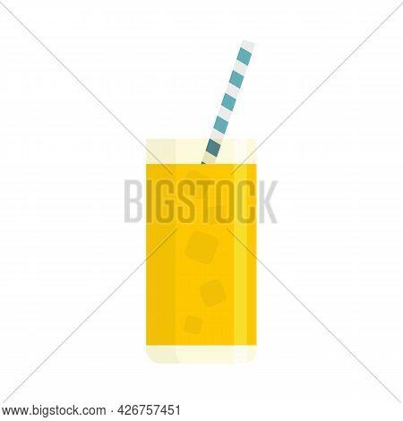 Orange Ice Cocktail Icon. Flat Illustration Of Orange Ice Cocktail Vector Icon Isolated On White Bac