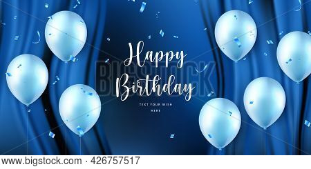 Elegant Blue Ballon And Silk Curtain Background Happy Birthday Celebration Card Banner Template
