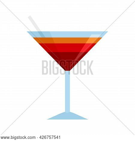 Sexy Beach Cocktail Icon. Flat Illustration Of Sexy Beach Cocktail Vector Icon Isolated On White Bac
