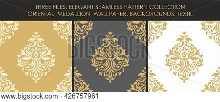 Collection With Three Files With Elegant Seamless Pattern. Medallion Style. Vector Illustration. Eps
