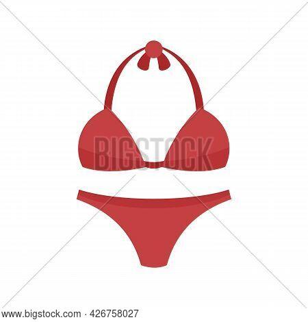 Woman Swimwear Icon. Flat Illustration Of Woman Swimwear Vector Icon Isolated On White Background