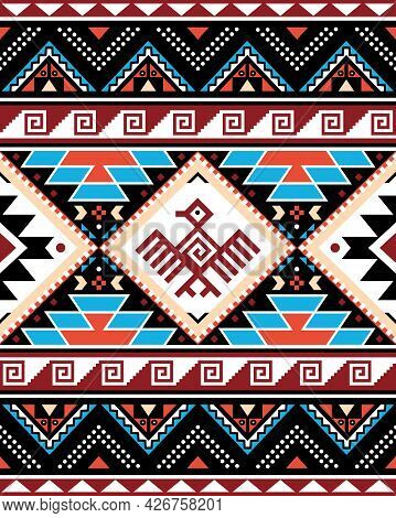 Aztec Triabl Geometric Seamless Vector Pattern With Bird And Traingles - Peruvian Rug Or Carpet Styl