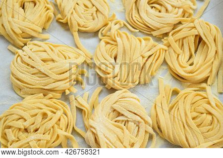 Fresh Tagliatelle Made At Home Skein-shaped Noodles
