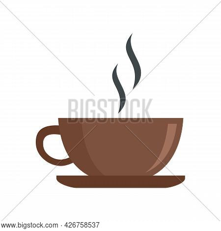 Hot Coffee Cup Icon. Flat Illustration Of Hot Coffee Cup Vector Icon Isolated On White Background