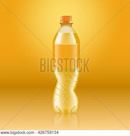 Realistic Soda Lemonade Bottle Mock Up With Yellow Label Isolated On Yellow Background Reflected Off