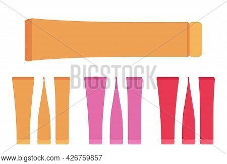 Plastic Cosmetic Tube, Toothpaste Bottle Empty Orange, Pink, Red Set. Large Cap Makeup Cream Storage
