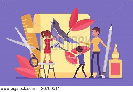 Kindergarten Paper Craft, Art Class Decoration And Design. Female Teacher With Preschool Kids Develo