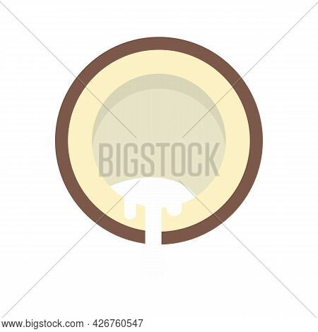 Half Cutted Coconut Icon. Flat Illustration Of Half Cutted Coconut Vector Icon Isolated On White Bac