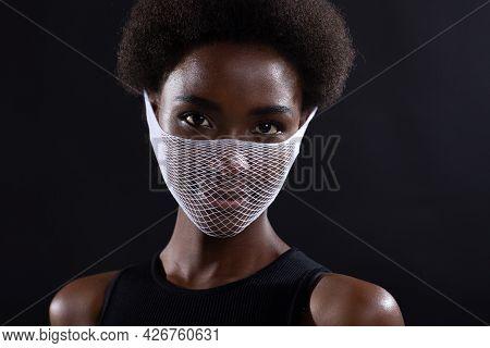 Portrait Of African American Dark Skinned Woman Fashion Model Wearing Quarantine Medical Fishnet Kni
