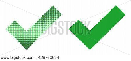 Pixel Halftone Apply Tick Icon. Vector Halftone Concept Of Apply Tick Icon Done Of Round Pixels.