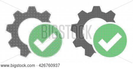 Pixelated Halftone Apply Settings Gear Icon. Vector Halftone Concept Of Apply Settings Gear Icon Des
