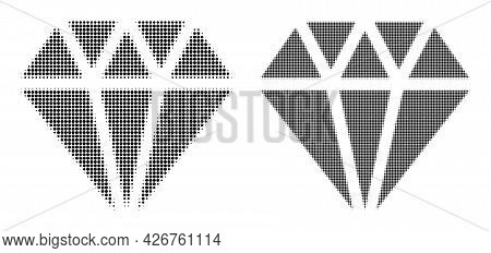 Pixelated Halftone Adamant Crystal Icon. Vector Halftone Concept Of Adamant Crystal Icon Composed Wi