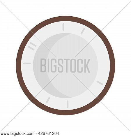 Top View Coconut Icon. Flat Illustration Of Top View Coconut Vector Icon Isolated On White Backgroun