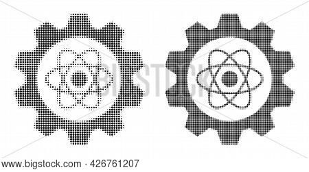 Dotted Halftone Atomic Industry Icon. Vector Halftone Mosaic Of Atomic Industry Icon Organized Of Ci