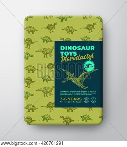 Dinosaur Toys Label Template. Abstract Vector Packaging Design Layout. Hand Drawn Pterodactyl Sketch