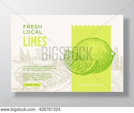 Fresh Local Lime Food Label Template. Abstract Vector Packaging Design Layout. Modern Typography Ban