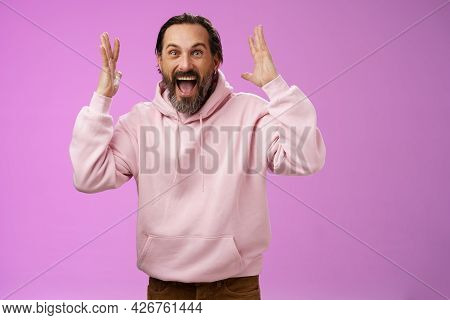 Happy Excited Lucky Adult Bearded Man Celebrating Excellent News Raising Hands Gesturing Thrilled Sm