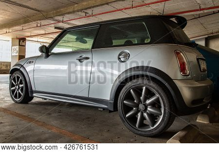 Bangkok, Thailand - 30 Jun 2021 : Close-up Of Rear Light Or Tail Lamp, Wheel And Door Of Silver Mini