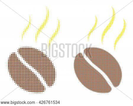 Pixel Halftone Aroma Coffee Bean Icon. Vector Halftone Collage Of Aroma Coffee Bean Icon Formed Of C