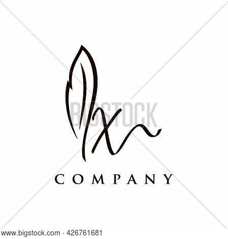 Simple And Elegant Illustration Logo Design Initial X Signature Combine With Feather Pen.