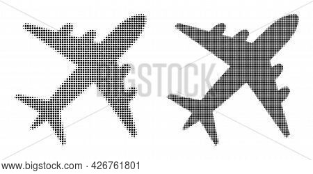 Pixelated Halftone Airplane Icon. Vector Halftone Composition Of Airplane Icon Organized Of Round El