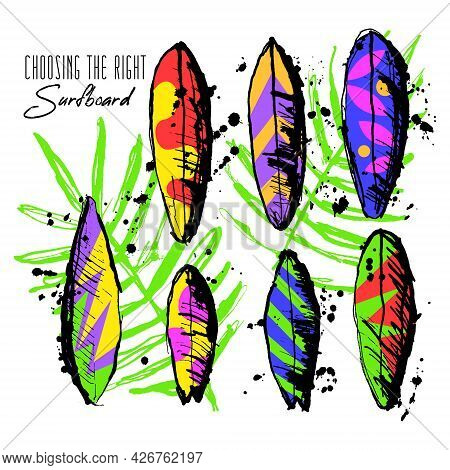 Vector Illustration With Set Of Various, Multi Colored Surfboards With Patterns. There Are Shortboar