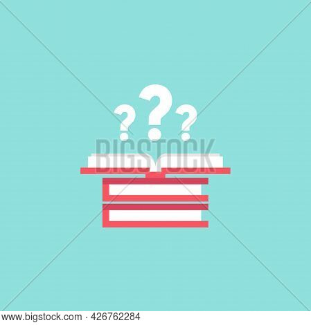 Open Book With Red Book Cover And White Question Marks. Isolated On Turquoise Background. Flat Vecto