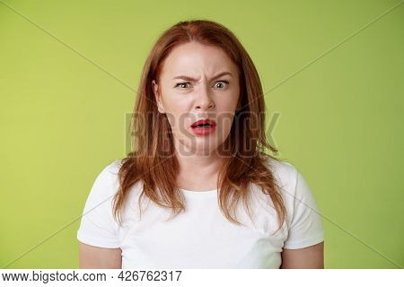 Confused Shocked Gasping Middle-aged Redhead Woman Cringe Frustrated Puzzled Open Mouth Speechless F