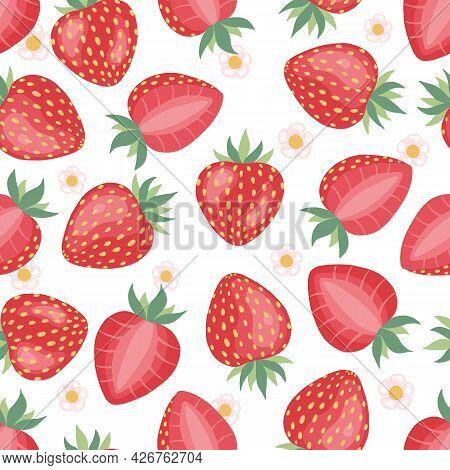 Strawberries Seamless Pattern Background. Strawberry Pattern. Vector Background.