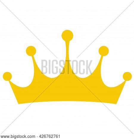 Golden Crown Mascot. Vector Illustration Isolated On White Background. Good For Logos, Icons, Poster